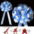 "10 BABY LIGHT BLUE WHITE 8"" TWO LAYER WEDDING PULL PEW BOWS FOR BRIDAL CAKE GIFT BASKET DECORCATION"