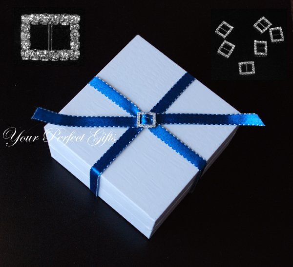 60 RECTANGLE Silver Diamante Rhinestone Ribbon Buckle Sliders For Wedding Invitation Card