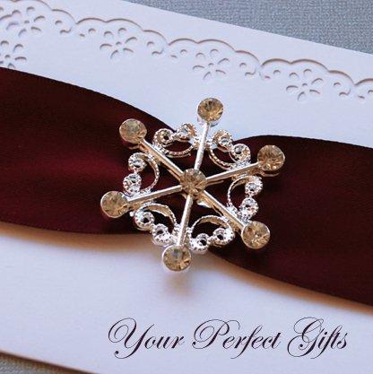 "120  LARGE Snowflake 1-3/4"" Silver Diamante Rhinestone Ribbon Buckle Slider for Flip Flop"