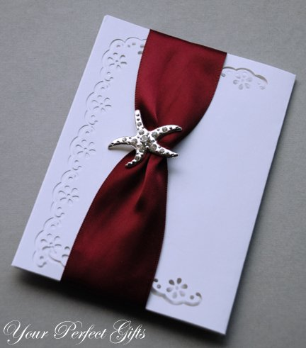 "50 STARFISH 1-3/8"" Silver Diamante Rhinestone Buckle Slider Wedding Invitation BK057"