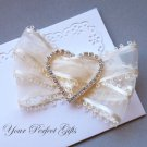 "1 pc HEART 1-7/8"" Silver Diamante Rhinestone Ribbon Buckle Sliders Wedding Invitation BK050"