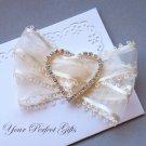 "100 HEART 1-7/8"" Silver Diamante Rhinestone Ribbon Buckle Slider Wedding Invitation BK050"