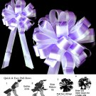 "10 LAVENDER PURPLE WHITE 8"" TWO LAYER WEDDING PULL PEW BOWS FOR BRIDAL CAKE GIFT BASKET PB082"