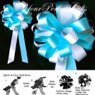 "10 WHITE TEAL BLUE 8"" WEDDING PULL PEW BOWS FOR BRIDAL CAKE GIFT BASKET DECORCATION PB013"