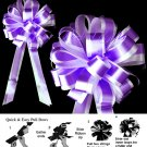"10 DARK PURPLE WHITE 8"" TWO LAYER WEDDING PULL PEW BOWS FOR BRIDAL CAKE GIFT BASKET DECORCATION"