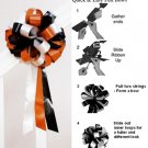 "10 ORANGE WHITE BLACK 8"" WEDDING PULL PEW BOW FOR BRIDAL CAKE GIFT BASKET DECORCATION"