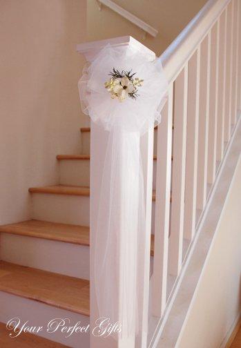 "10 WHITE TULLE NET 9"" WEDDING PEW BOWS FOR BRIDAL CAKE GIFT BASKET DECORCATION"