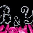 Swarovski Rhinestone Crystal Monogram Wedding Cake Topper Initial Letter Silver 3pcs CT065