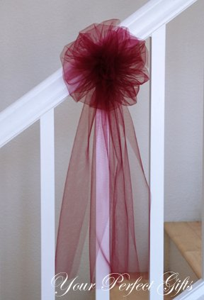 10 BURGUNDY RED 9 TULLE NET WEDDING PEW BOWS