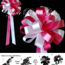 "10 APPLE RED WHITE 8"" WEDDING PULL PEW BOW FOR BRIDAL CAKE GIFT BASKET DECORCATION PB031"