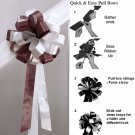 "10 CHOCOLATE BROWN WHITE 8"" WEDDING PULL PEW BOW FOR BRIDAL CAKE GIFT BASKET DECORCATION"