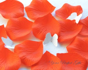 1000 PERSIMMON BRIGHT ORANGE SILK ROSE PETALS WEDDING DECORATION FLOWER FAVOR RP006