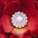 100 Round Diamante Rhinestone Crystal Pearl Button Hair Flower Clip Wedding Invitation Ring BT091