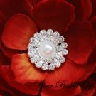 10 Two Row Round Diamante Rhinestone Crystal Pearl Button Hair Clip Wedding Invitation Ring  BT029