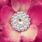 100 Round Circle Two Row Diamante Rhinestone Crystal Button Hair Clip Wedding Invitation Ring BT038