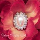 50 Oval Diamante Rhinestone Crystal Pearl Button Hair Flower Clip Wedding Invitation Ring BT092