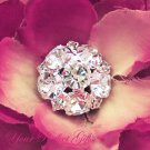 20 Round Circle 19mm Diamante Rhinestone Crystal Button Hair Clip Wedding Invitation Ring BT018