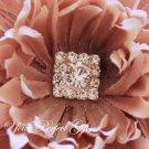 1 pc Square Diamante Rhinestone Crystal Silver Button Hair Clip Wedding Invitation BT054