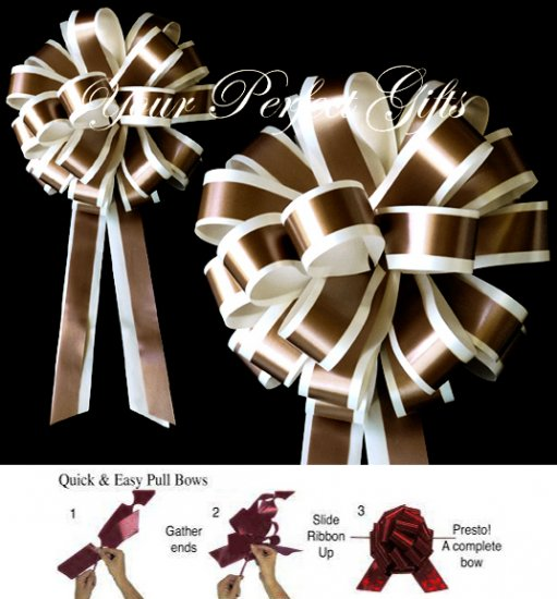 """10 IVORY BROWN 8"""" TWO LAYER WEDDING PULL PEW BOWS FOR BRIDAL CAKE GIFT BASKET DECORCATION PB019"""