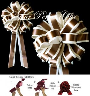 10 IVORY BROWN 8&quot; TWO LAYER WEDDING PULL PEW BOWS FOR BRIDAL CAKE GIFT BASKET DECORCATION PB019