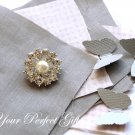 50 Round Two Row Diamante Rhinestone Crystal Pearl Button Hair Clip Wedding Invitation Ring BT036