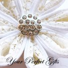 10 Round Circle Diamante Rhinestone Crystal Button Hair Flower Clip Wedding Invitation Ring BT033