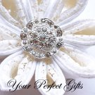 10 Round Circle Diamante Rhinestone Crystal Button Hair Flower Clip Wedding Invitation Ring BT016