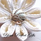 10 Round Circle Diamante Rhinestone Crystal Button Hair Flower Clip Wedding Invitation Ring BT030