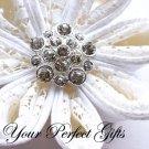 10 Round Circle Diamante Rhinestone Crystal Button Wedding Invitation Ring Pillow BT042