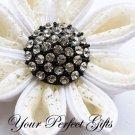 20 Round Circle Vintage Diamante Rhinestone Crystal Button Wedding Invitation Black Silver BT017