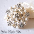 1 pc 50mm Flower Rhinestone Crystal  Diamante Pearl Silver Brooch Pin Jewelry Cake Decoration BR014