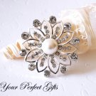 1 pc 46mm Flower Rhinestone Crystal  Diamante Pearl Silver Brooch Pin Jewelry Cake Decoration BR040