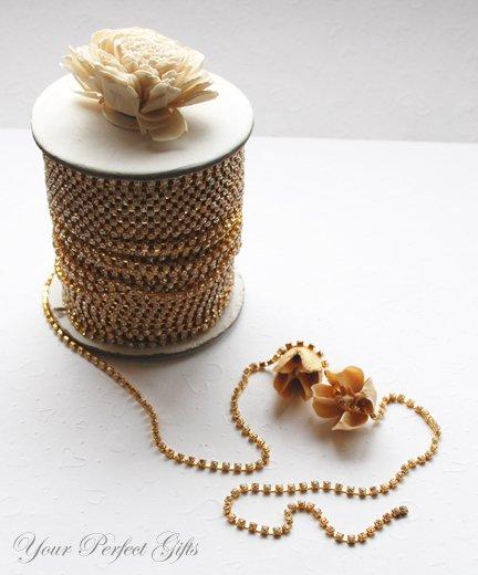 30 Feet/10 Yard SS6 2.1mm Rhinestone Chain Crystal Gold Pleated Wedding Cake Banding Jewelry RC014