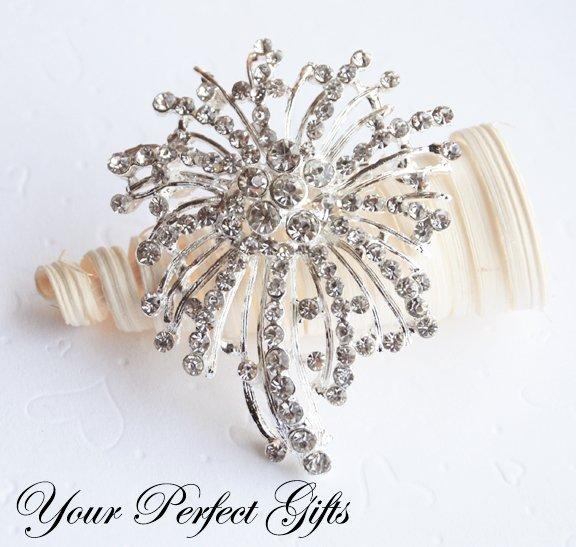 "1pc 2.75"" Fancy Flower Diamante Rhinestone Crystal Silver Brooch Pin Jewelry Cake Decoration BR025"