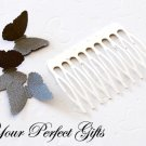 10 pcs 2 inch Silver Metal Hair Combs 10 Teeth Wedding Bridal Flower Tiara Jewelry Supplies AC005