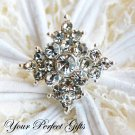 10 Diamond Square Diamante Rhinestone Crystal Button Hair Clip Wedding Invitation Ring Pillow BT023
