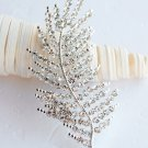 "1 pc 3-1/4"" Feather Rhinestone Crystal  Diamante Silver Brooch Pin Jewelry Cake Decoration BR019"