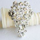 1 pc Teardrop Shape Rhinestone Crystal  Diamante Silver Brooch Pin Jewelry Cake Decoration BR030