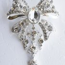 "1 pc 3-1/4"" Bow Shape Rhinestone Crystal  Diamante Silver Brooch Pin Jewelry Cake Decoration BR011"