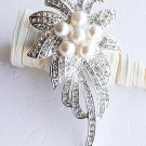 "1 pc 3.5"" Flower Rhinestone Crystal  Diamante Pearl Silver Brooch Pin Jewelry Cake Decoration BR010"