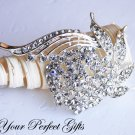 1 pc Fancy Flower Rhinestone Crystal  Diamante Silver Brooch Pin Jewelry Cake Decoration BR028