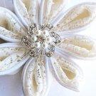 "1 pc  Round Diamante 1"" (25mm) Rhinestone Crystal Pearl Button Hair Clip Wedding Invitation BT011"