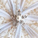 10 Round Diamante Rhinestone Crystal Pearl Starfish Button Hair Clip Wedding Invitation BT007