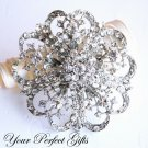 1 pc Fancy Flower Rhinestone Crystal  Diamante Silver Brooch Pin Jewelry Cake Decoration BR016