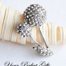 1 pc 38mm Fancy Flower Rhinestone Crystal  Diamante Silver Brooch Pin Jewelry Cake Decoration BR026