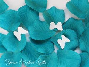 1000 TEAL BLUE SILK ROSE PETALS WEDDING DECORATION FLOWER FAVOR RP012