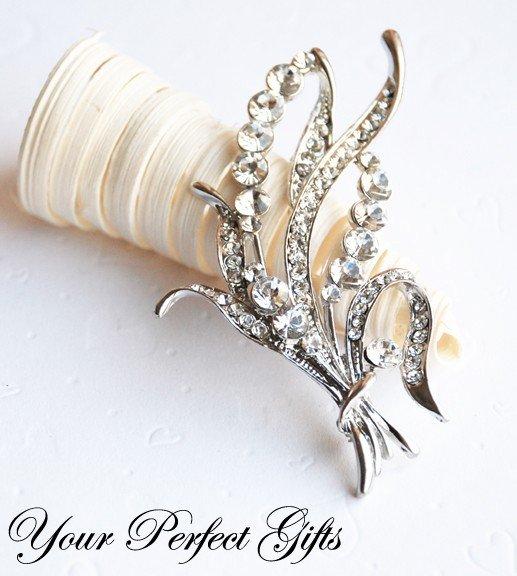 1 pc 75mm Fancy Flower Rhinestone Crystal Diamante Silver Brooch Pin Jewelry Cake Decoration BR027