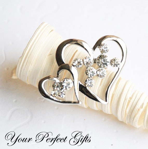 1 pc 45mm Double Heart Rhinestone Crystal Diamante Silver Brooch Pin Jewelry Cake Decoration BR022