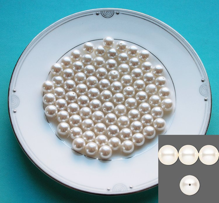 Light Ivory Cream 100 pcs Round Pearl 8mm For Wedding Jewelry Necklace Bracelet Earring Making LP038