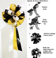 10 LEMON YELLOW WHITE BLACK 8&quot; WEDDING PULL PEW BOW FOR BRIDAL CAKE GIFT BASKET DECORCATION